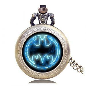 Designer Inspirations Boutique ® Montre de poche rétro/vintage avec logo Batman bleu fluorescent pour homme - Effet bronze antique - Mouvement à quartz - Chaîne de 80cm (M & M Jewellery, neuf)