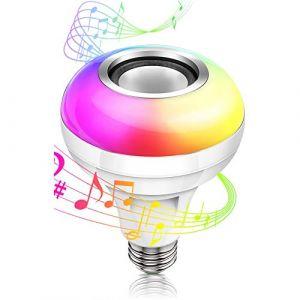 Bluetooth 4.2 Ampoule haut-parleur avec port USB, RGB Couleur changeante Lampe stéréo E26/E27 Base LED Ampoule musicale avec télécommande pour la fête, Décorations pour la maison (Herexty, neuf)