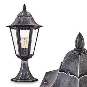 Borne extérieure Lignac, potelet vintage en aluminium moulé noir/argenté et verres transparents de 74 cm de haut, luminaire pour une ampoule E27 max. 60 Watt, IP44, compatible ampoules LED (hofstein, neuf)