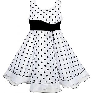 Sunny Fashion Robe Fille Noir Blanc Point Tulle Partie Reconstitution Historique 4-5 Ans (Sunny Fashion Europe, neuf)