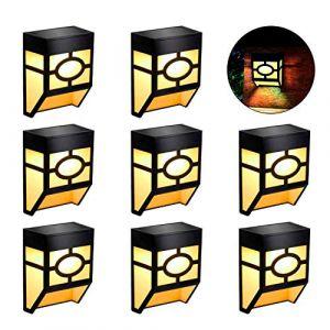 Lampe Solaire Extérieur Mural Sans Fil Extérieure Imperméable Lampe Murale Rétro avec Capteur Pour Terrasse, Clôture, Patio, Porte d'entrée, Escalier, Paysage, Cour et Allée (Blanc Chaud, Lot de 8) (Hongshang EU, neuf)