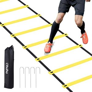 Ohuhu® Echelle Agilité/Echelle de Coordination/Ladder/Echelle Football avec Valise Noire pour Les Exercices de Vitesse et de Coordination (Jaune, 12 Echelon) (OhuhuDirect FR, neuf)