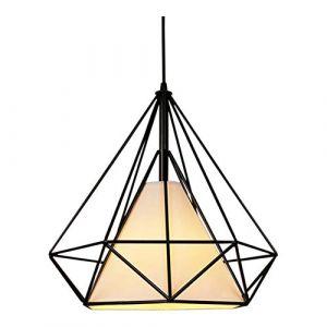 iDEGU Lustre Suspension Filaire Industriel forme Diamant Luminaire - Ø 25 cm - Noir (IDEGU, neuf)