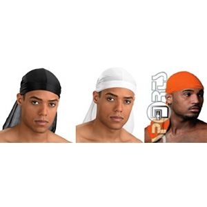 Bandana Foulard US Durag - 15 Couleurs Différentes - Rap USA du rag - Airsoft Paintball Hip hop Moto Biker Musculation Cuisine (97 # LOT Noir + Blanc + Orange) (ABSOLUTE DISCOUNT, neuf)