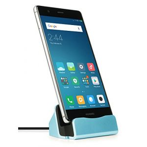 MyGadget Chargeur Dock USB C pour Android - Station de Charge pour Smartphone Samsung Galaxy A3 A5 S8 S9 Plus/Huawei P9 P10 Mate 30 - Socle Bleu (DBSW Trading GmbH, neuf)