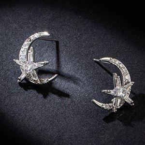 Boucles d'oreilles vacances lune étoile ronde coréenne boucles d'oreilles en zircon argent oreille ornements pour femmes et filles accessoires de mariage (Graceguoer, neuf)