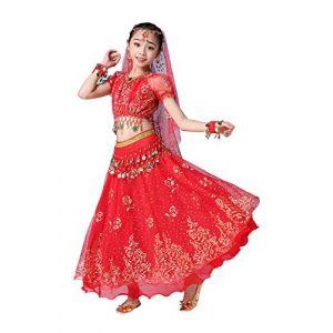 FEOYA Costume Danse Bollywood Enfant Fille Robe Tenue Danse Orientale Enfant Belly Dance Costume Danse Indienne pour Halloween Déguisement Carnaval 10-12 Ans Rouge (GAOCHENGEU, neuf)