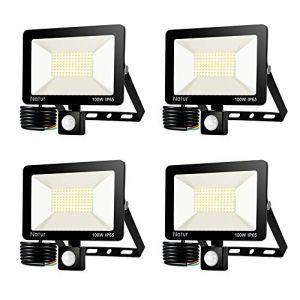 4*100W Projecteur LED détecteur de mouvement, Blanc Chaud(3000K) spot led exterieur avec detecteur IP65 lampe de sécurité idéal pour éclairage public, garage, couloir, jardin[Classe énergétique A++] (Bapro, neuf)
