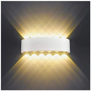 Applique Murale Interieur LED 12W Blanc Lampe Murale Moderne, IP65 Étanche appliques murales exterieures en Aluminium, Up Down Spot Lampe pour Salon Chambre Hall Escalier Pathway (Blanc Chaud) (HYDONG, neuf)