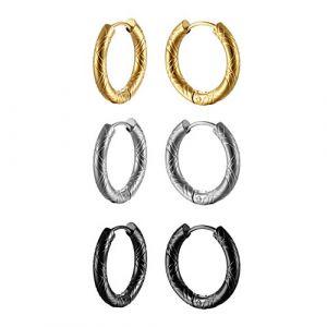 Lot de 3 paires de clous d'oreilles en acier inoxydable pour homme, femme, noir, argent, or, OIDEA Punk Rock vintage anneaux créoles Boucles d'oreilles Huggie Piercing d'oreille Diamètre 20 mm (Oidea Jewellery, neuf)