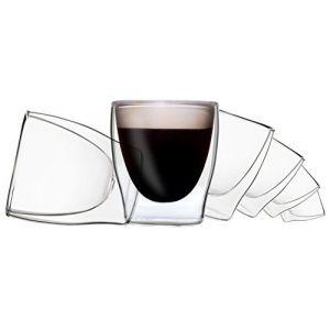"""6x80 ml verres DUOS à double paroi de 80ml, verres expresso, verres thermo - la boisson flotte littéralement dans le verre - """"effet flottant"""", également adapté au thé turc, DUOS by Feel (Feelino GmbH, neuf)"""