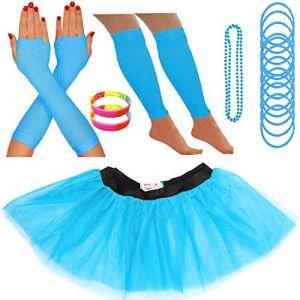 Redstar Fancy Dress - Tutu/guêtres/Mitaines résille/Collier de Perles/Bracelets en Caoutchouc/Bracelets Fluo - Turquoise - 42-50 (Redstar Online, neuf)