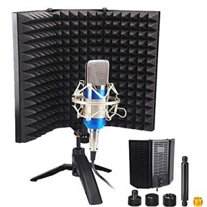 ALLOMN Mousse D'isolation de Microphone, Panneau D'isolation Acoustique Rabattable en Mousse Insonorisante Repliable Mic Studio, posé sur la Table ou Monté sur Pied pour le Matériel de Studio (LongingAge, neuf)