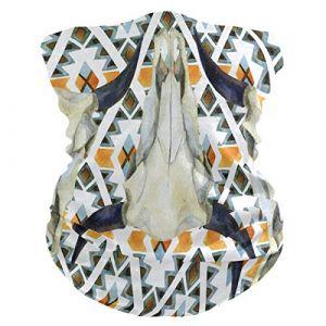QMIN Bandeau Boho Géométrique Tête de Mort de Mort Bandana Visage Soleil Protection Masque Cagoule Magique Cagoule pour Femmes Hommes Garçons Filles (QMIN, neuf)