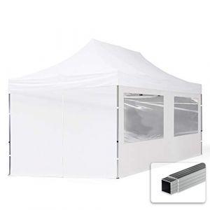TOOLPORT Tente Pliante 3x6 m - 4 côtés Aluminium Barnum Chapiteau Pliant Tonnelle Stand Paddock Réception Abri PES300 Blanc (INTENT24, neuf)