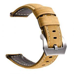 Bracelet de Montre en Cuir véritable|avec Boucle en Acier Inoxydable|Facilement Interchangeable|Bracelet de Montre de Remplacement pour Hommes et Femmes|Taille 22 mm|Marron (A knight, neuf)