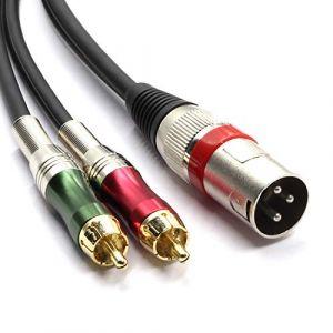 SiYear Haute qualité XLR mâle à 2 x adaptateur de prise RCA Phono Câble de raccordement pour séparateur Y, 1 XLR mâle 3 broches à double prise RCA Connecteur de câble audio stéréo (1,5 mètres) (charhoo, neuf)