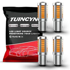 TUINCYN 1157 BAY15D ampoules à led ambrées 5630 33SMD 900 lumens lumière pour feu stop feux clignotants DC 12 V 3,6 W (pack de 4) (TUINCYn, neuf)