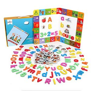 BeebeeRun Lettres et Chiffres magnétiques pour Enfants,164 PCS Alphabet magnétique Jouets éducatifs pour l'apprentissage préscolaire (Ealinggo, neuf)