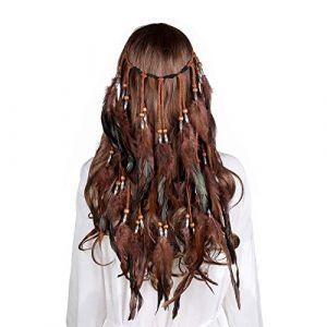 Coiffe de plumes Bandeau Hippie Boho - Coiffure en plumes fantaisie Chapeaux Bohémiens Pompon pour les femmes filles casque de carnaval (Café) (anjerry, neuf)