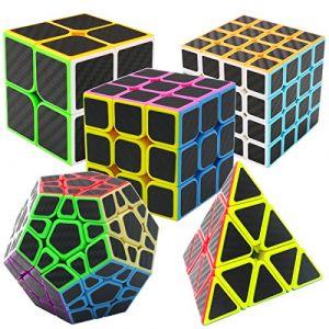 Speed Cube Ensemble Pyraminx + Megaminx + 2x2x2 + 3x3x3 + 4x4x4 5 Pack dans Boîte-Cadeau Coolzon® Nouveau Cubo Autocollant de Carbone Fibre Ultra Rapide (Easehome, neuf)