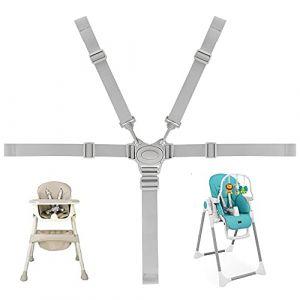 RMENOOR harnais chaise haute universelle sangle chaise enfant Réglable Avec Boucle POM ceinture attache Sécurité Fixation 5 points confort pour Chaise Haute Bébé Landau et Poussette (RMENOOR, neuf)