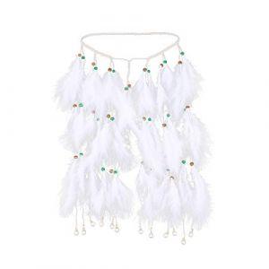 Frcolor plumes Bandeau Boho Indiana hippie Bandeau Cheveux Blancs plumes Coiffe Coiffe pour femmes filles (type C) (Ansuen, neuf)