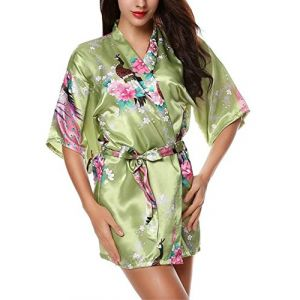 E-darter Paon Cardigan Robe de chambre - Satin Soyeux Peignoir Court Kimono Soie Femme (L, vert clair) (123Rui, neuf)