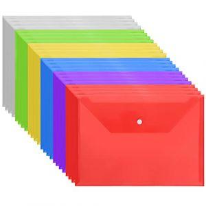 Pochette Porte-Document à Bouton Pression - Chemise Transparente A4 en Plastique de 6 Couleurs Différentes - Pochette à Rabat Imperméable pour Protéger vos Documents, Certificats, Recettes (Lot de 24) (Tinyyo Europe, neuf)