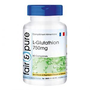 L-Glutathion 750mg - 60 comprimés végétaliens - hautement dosé - L-Glutathion de Fair & Pur est biodisponible - car il est sous forme réduite (Fair & Pure, neuf)