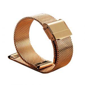 WSLCN Bracelet De Montre en Acier Inoxydable Vintage Rétro Bracelet Montre de Grain Bande à Dégagement Rapide pour Homme Femme C 22mm (light-in-the-dark, neuf)