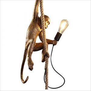 Lampe de singe de style industriel Vintage, lustre de résine créative de personnalité, lustre de singe de corde de, E27 (Color : Gold) (asxd, neuf)