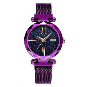 Montre Femme Montre de luxe étanche for femme, or rose (Color : Purple) (AiSiWeiDianZi, neuf)