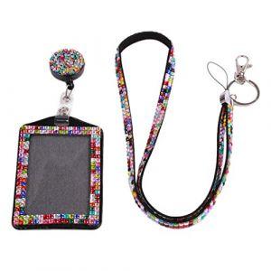 Porte-cartes rétractable badge tour de cou à suspendre avec strass taille unique multicolore (collectsound, neuf)