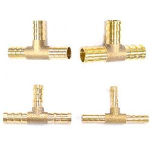 Lezed Connecteur de Tuyau de Carburant en t à 3 Voies, Adaptateur de raccord de Tuyau de Joint en Laiton pour l'huile de Gaz d'air d'Essence 4 pièces (6mm 8mm 10mm 12mm) (lezed, neuf)