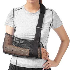 Écharpe médicale pour soutien du bras, immobilisation de l'épaule et de la coiffe des rotateurs Avec sangle de support Tissu léger et respirant Noir (Shenzhen HKJD Medical, neuf)