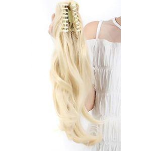 S-noilte® postiche queue de cheval d'extension de cheveux queue de cheval 45cm lisse Claw Ponytail différentes couleurs blond de blanchiment (UK-Fashion-Shop, neuf)