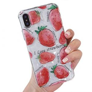 Rembcon Coque iPhone XR case Brillant Diamant Strass Silicone Marbre Housse Crystal Flexible Gel Souple TPU Bumper iPhone X Case Mince Clair Souple Silicone Soft Case Cover pour iPhone X/XS, Fraise 3) (Rembcom, neuf)