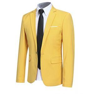 Veste Costume Hommes Slim Fit Formal Blazer Hommes, Jaune, M (Allthemen, neuf)