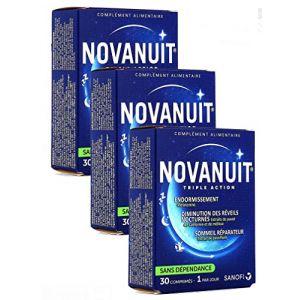 Novanuit Sommeil Triple action - Comprimés Sans Dioxide de Titane - 3 Mois de TRAITEMENT - Lot de 3 Boites de 30 Comp (3) (parapromos, neuf)