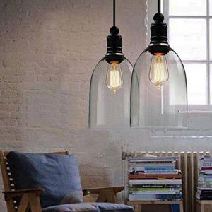 Moderne en verre transparent Suspension abat-jour en forme de cloche à suspendre en verre transparent Abat-jour Lustre pour Loft Barre de cuisine de restaurant (Sobotoo, neuf)