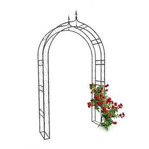 Relaxdays 10020028  Arche à rosiers pointue Tuteur de plantes grimpantes Support de jardin fer noir en métal obélisque pour fleurs arceaux colonne H x l x P: 242 x 138 x 35,5 cm