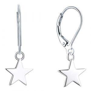 YL Boucles d'oreilles pendantes en forme d'étoile en argent sterling 925 pour femmes filles (YL Fine Jewelry, neuf)