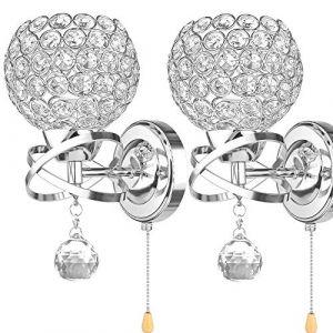 ALLOMN Applique de Style Moderne, Applique Pendentif Cristal Chambre Allée Salon Applique Titulaire Prise E14 (Ampoule non Incluse) (Avec Interrupteur à Tirette, 2 PACK) (LongingAge, neuf)