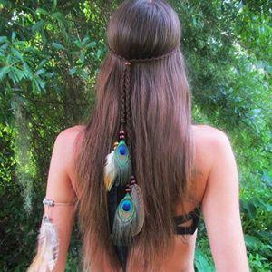 Simsly Bandeau à plumes de paon style hippie indien années 1920 pour femme et fille Gris (Simsly-UK, neuf)