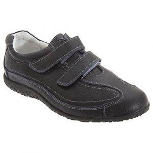 Boulevard - Chaussures extra larges en cuir et à sangles scratch - Femme (40 EUR) (Noir) (Pertemba FR, neuf)