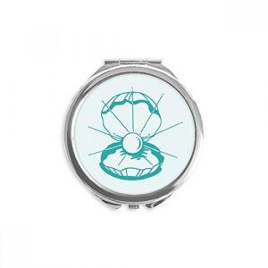 DIYthinker vert pétoncle vie marine illustration miroir rond maquillage de poche à la main portable 2,6 pouces x 2,4 pouces x 0,3 pouce Multicolore (bestchong, neuf)