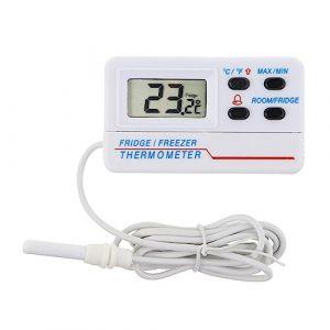 Thermomètre digital de réfrigérateur ou de congélateur - Avec alarme - Fonction max min - Câble de 1,2m (Thermometer World, neuf)