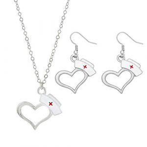 Shefii 1 ensemble de bijoux avec pendentif en forme de cœur avec inscription « Docteur infirmière » (Shefii, neuf)