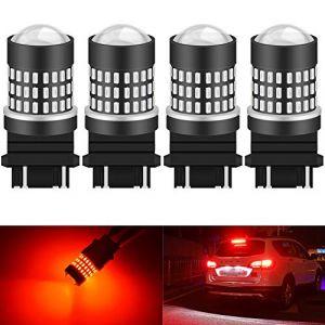 KATUR 3157 3047 3057 3155 3156 Ampoule à LED 900 Ampoules 3014 Ampoule 78SMD à LED pour feu Stop Clignotant feu de recul, Rouge Brillant (Pack de 4) (KAtur, neuf)
